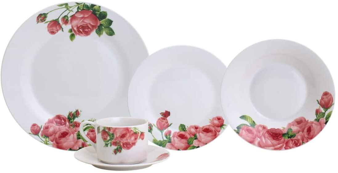 Aparelho De Jantar 20 peças De Porcelana Floral - Lyor