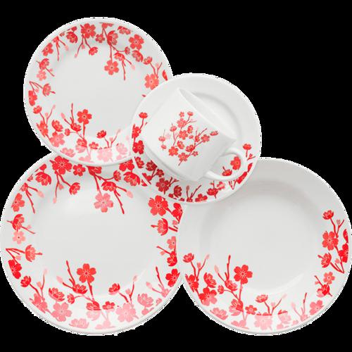 Aparelho de Jantar, Chá e Sobremesa 20 Peças Biona Jardim Oriental em Cerâmica  Branco/Vermelho