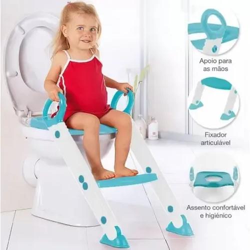 Assento Infantil Para Sanitário de Plástico Com Escada- Azul/ Cinza