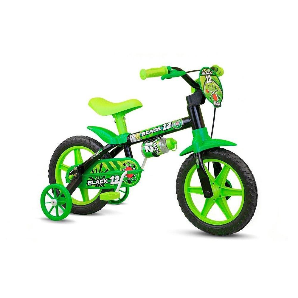 Bicicleta Infantil Aro 12 - Black 12 - Menino - Preta e Verde - Nathor