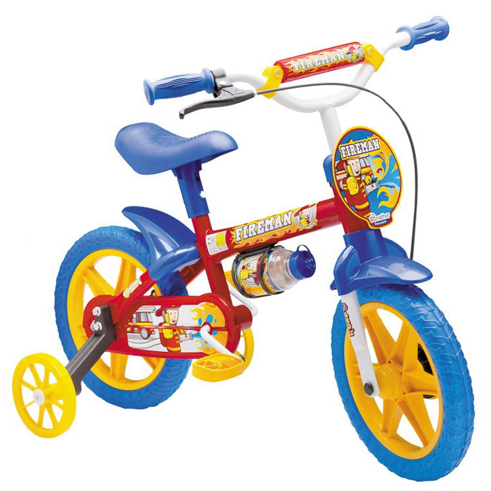 Bicicleta Infantil Aro 12 c/ Rodinhas Menino Fireman 10 - Nathor