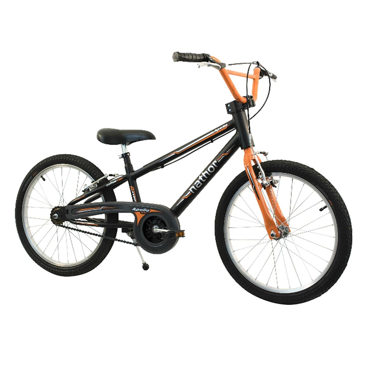 Bicicleta Infantil Aro 20 Nathor Apollo Com Pezinho Preta E Laranja