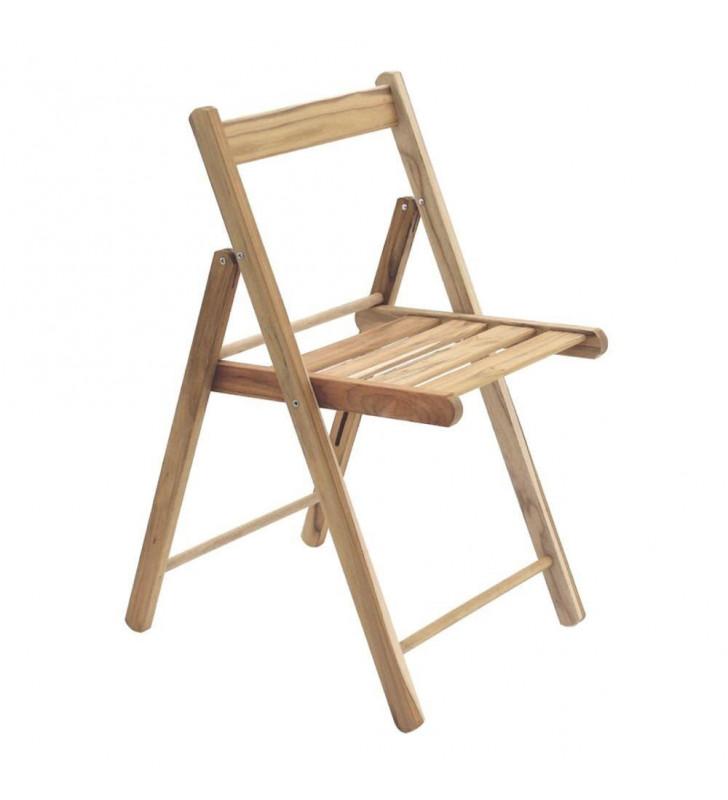 Cadeira Dobrável Lille Teca Natural Madeira - Tramontina