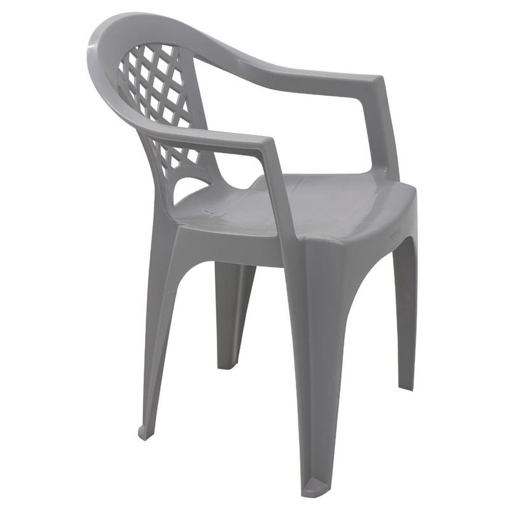 Cadeira Tramontina Monobloco em Polipropileno Cinza com Braços Iguape