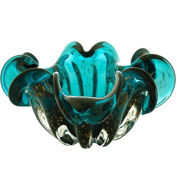 Centro de Mesa Vidro Italy Azul Marinho Detalhes Rose 24cm 4470 - Lyor