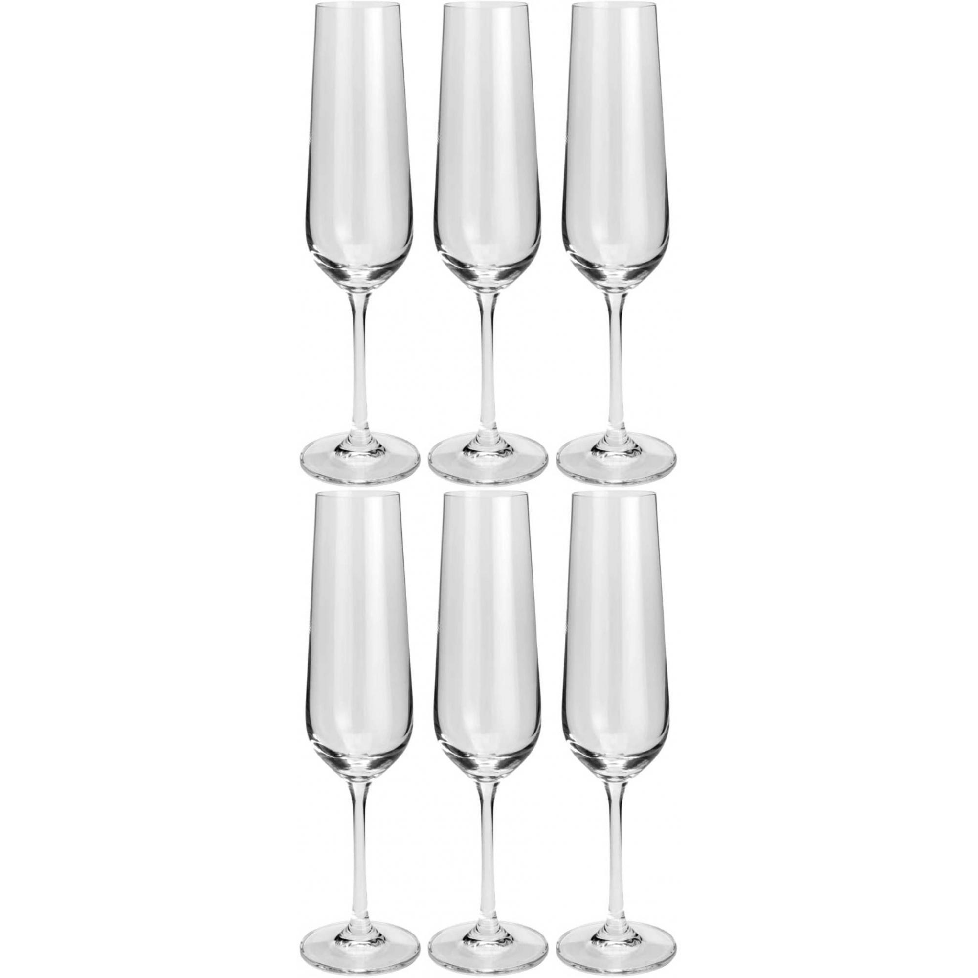 Conjunto 6 Taças Para Champagne de Cristal Ecológico Strix 200ml - Bohemia