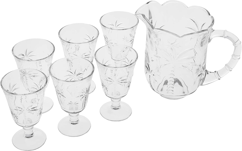 Conjunto 1 Jarra 1,3 Litros e 6 Taças 240 ml Cristal De Chumbo Transparente Palm - Lyor