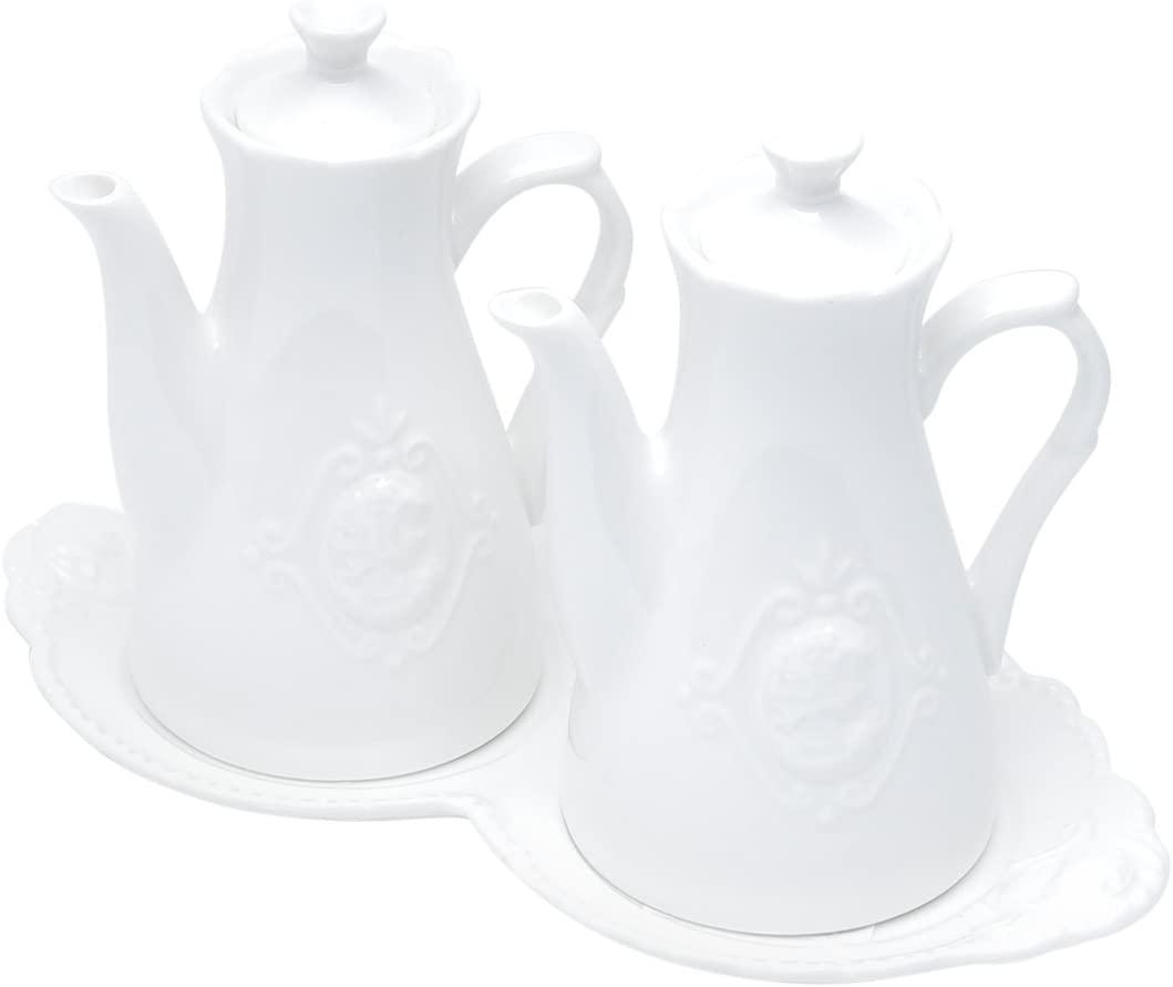 Conjunto 3 Peças Galheteiro de Porcelana Queen Branco - Lyor