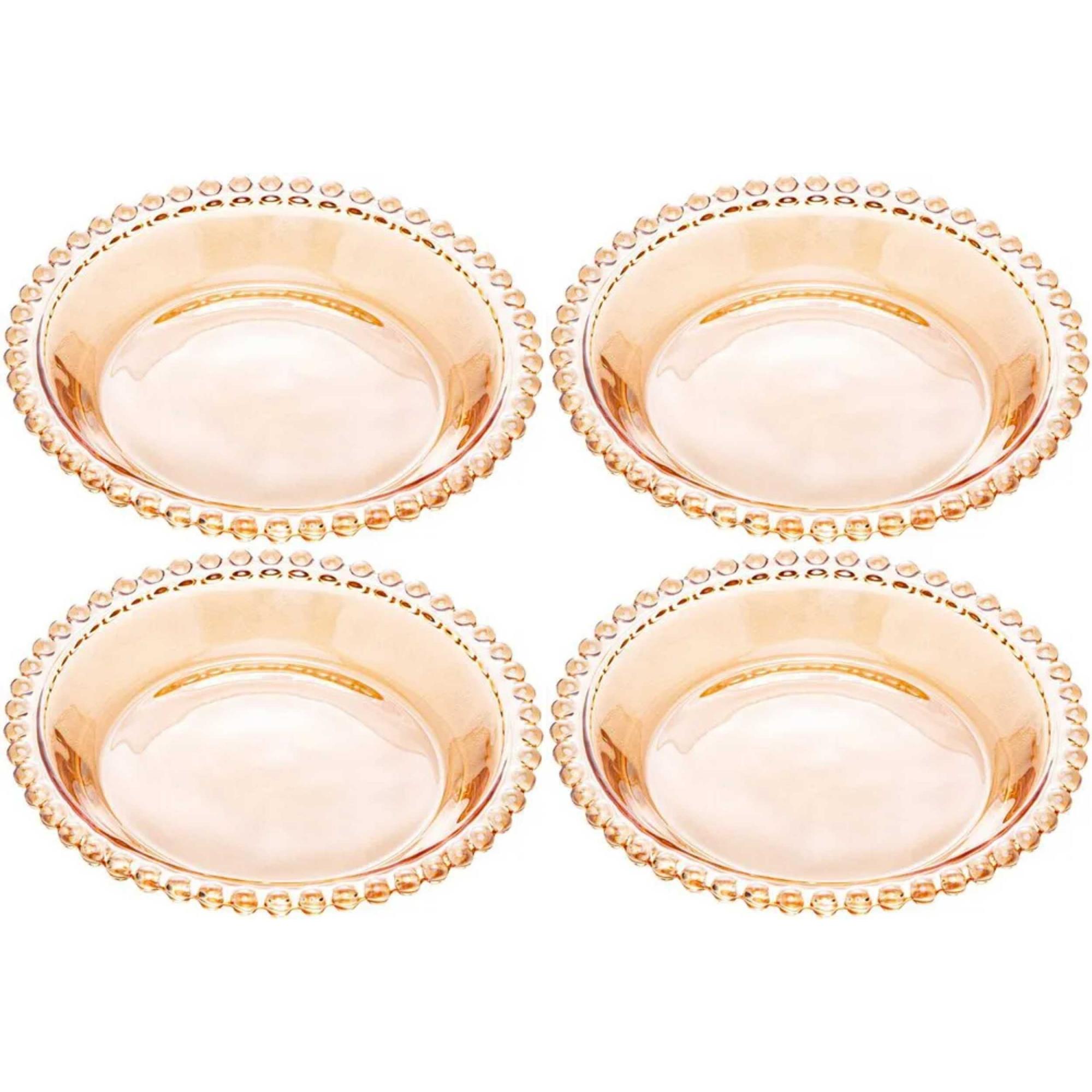 Conjunto 4 Pratos Cristal Pearl Âmbar 14 cm