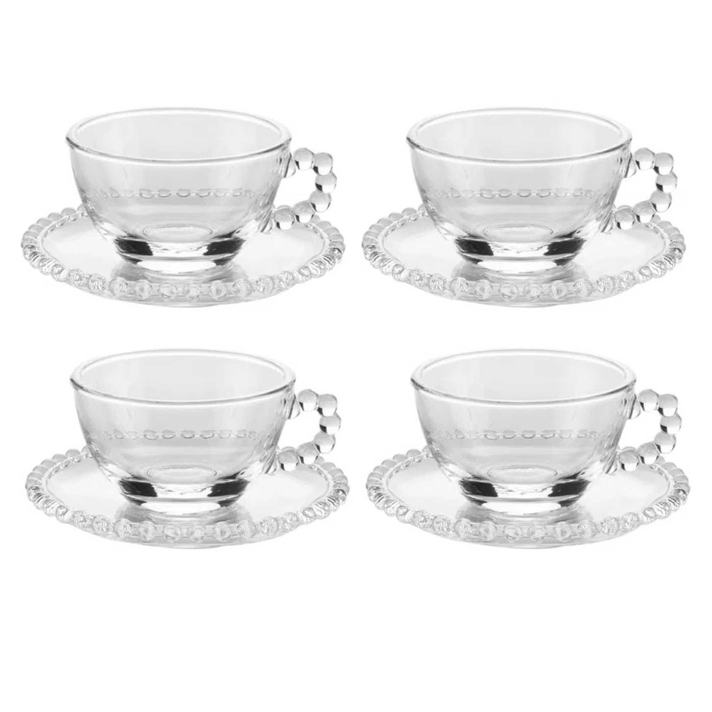 Conjunto de 4 Xícaras de Chá com Pires de Cristal Pearl 200ml - Wolff