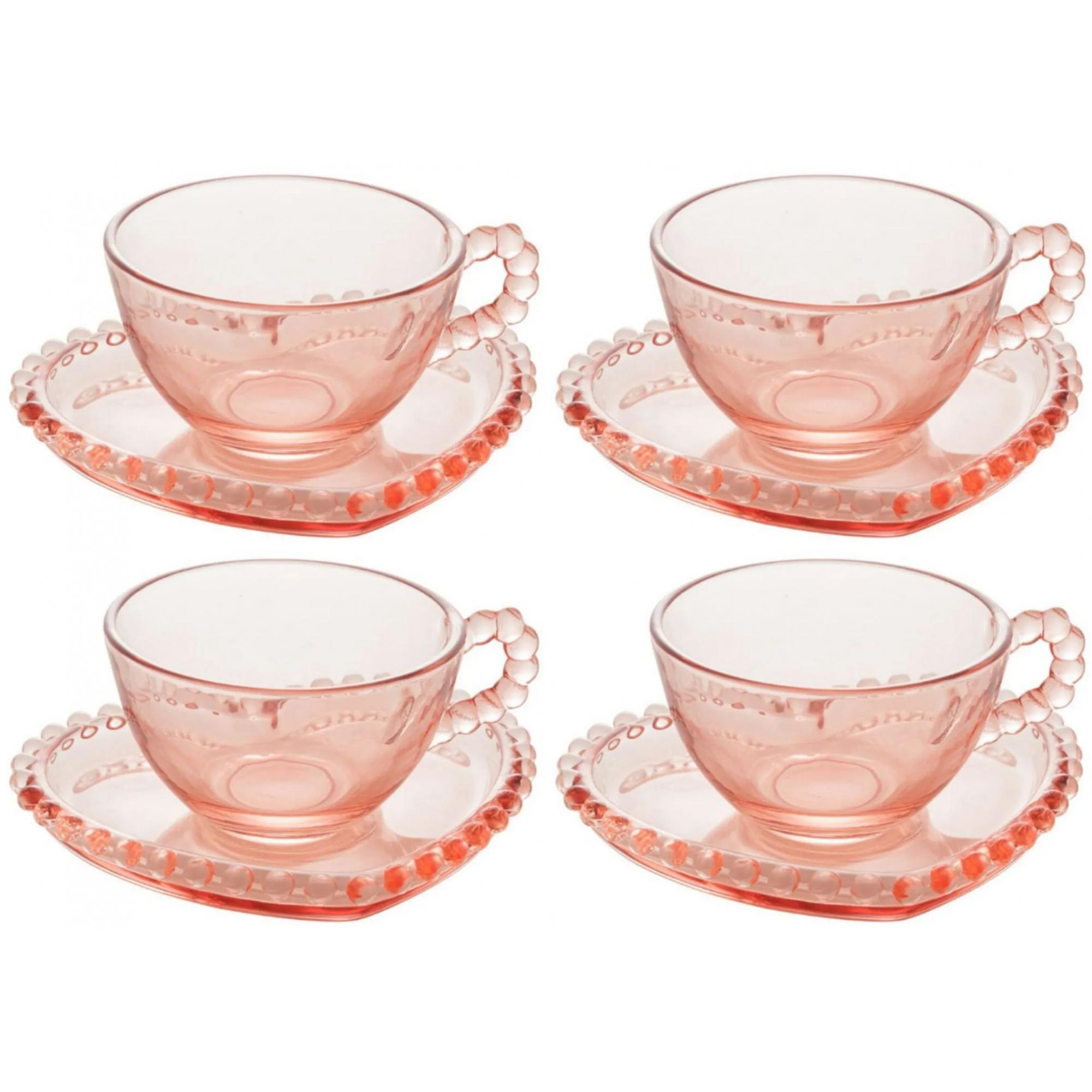 Conjunto 4 Xícaras de Coração com Pires para Chá - Pearl Rosa