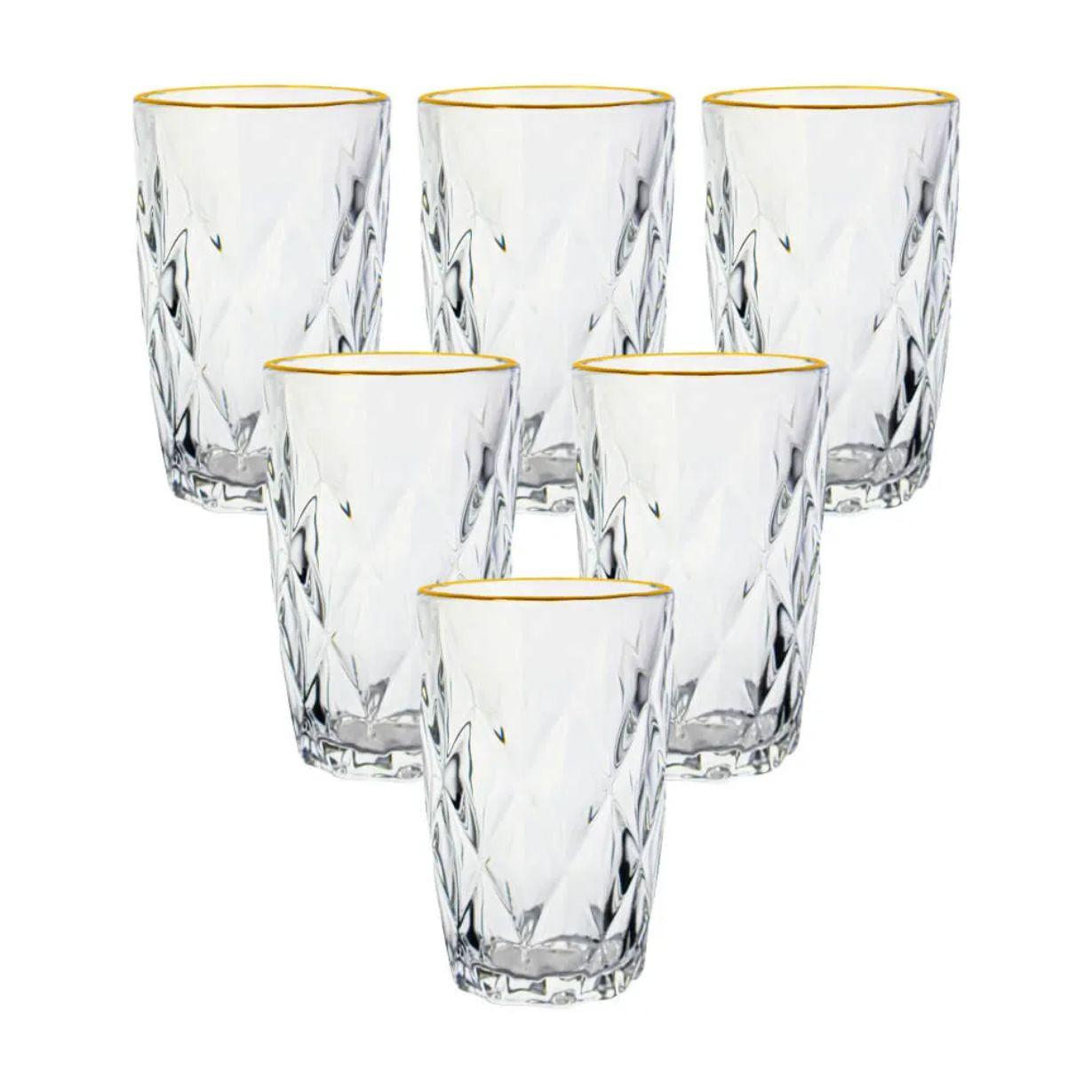 Conjunto 6 Copos de Vidro Diamond Transparente Fio de Ouro 350ml - Lyor