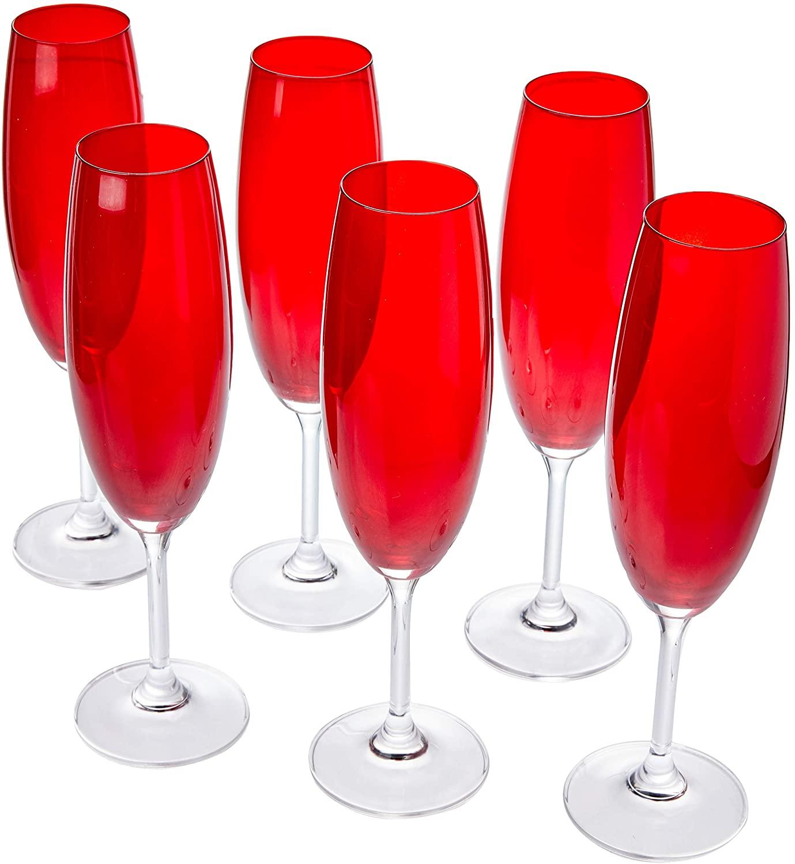 Conjunto 6 Taças Champagne de Cristal Ecológico Klara Sylvia Rubi - Lyor