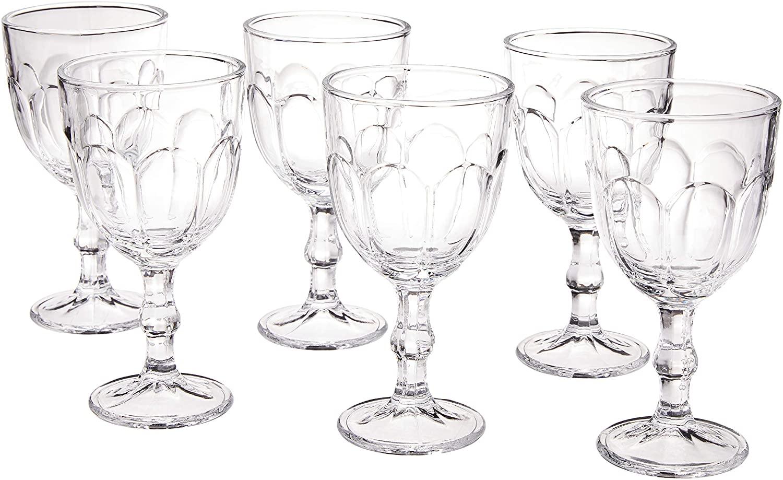 Conjunto 6 Taças para Água de Vidro Faces Lyor Transparente 300 ml