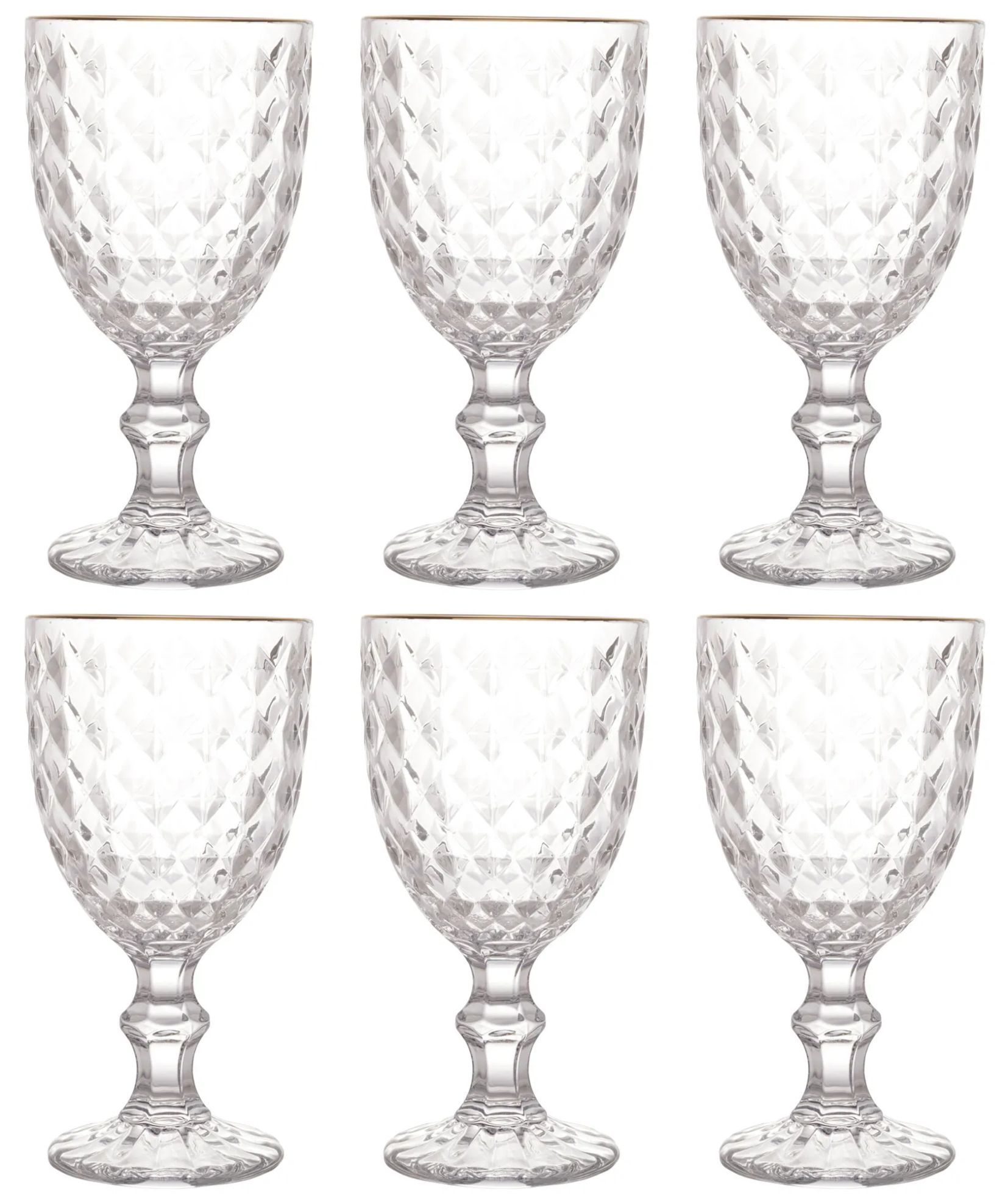 Conjunto 6 Taças Vidro para Água com Fio Dourado Roman 345ml