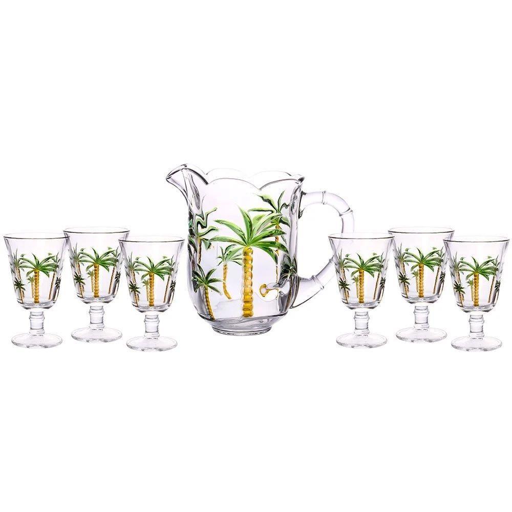 Conjunto 7 peças 1 Jarra 1,3L + 6 Taças 240ml de Cristal Palm - Lyor