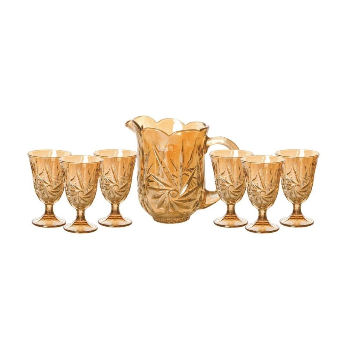 Conjunto de 1 Jarra 1,5 L com 6 Taças 240 ml de Cristal Prima Âmbar - Lyor