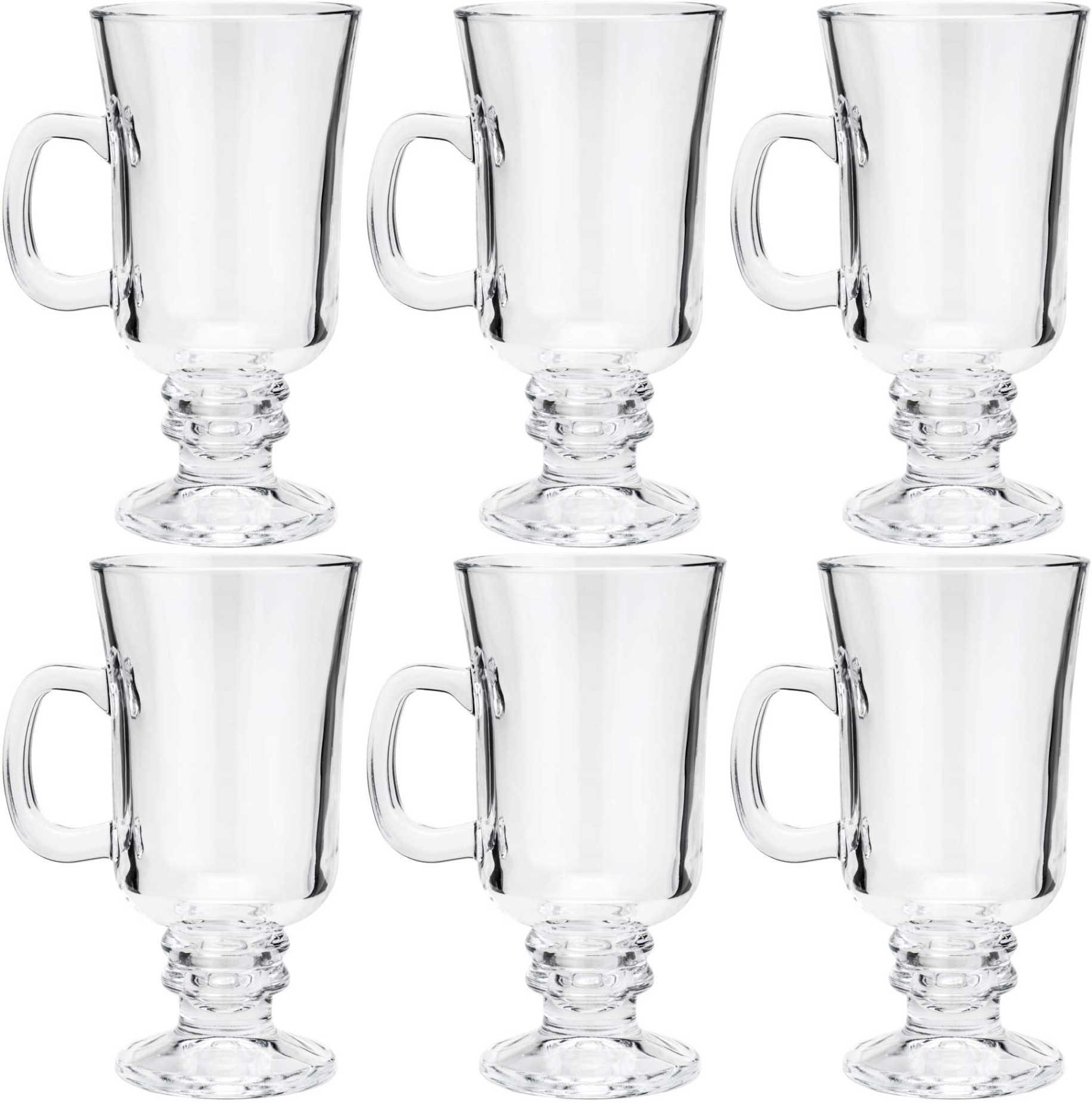 Conjunto De 6 Taças De Vidro Transparente Para Cappuccino 250ml - Lyor
