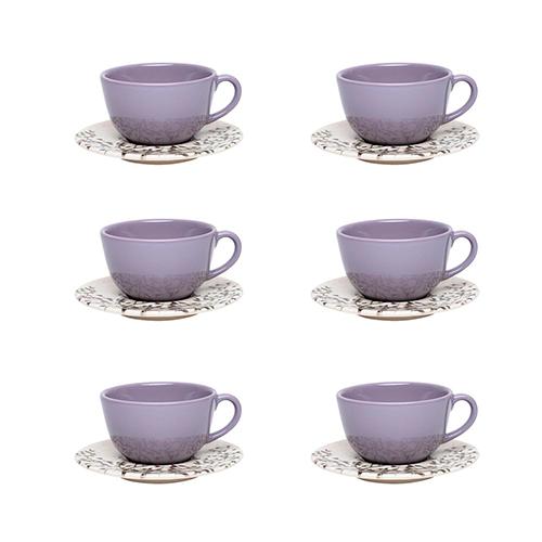 Conjunto de 6 Xícaras Grandes 200 ml com Pires Unni Lilac - Oxford
