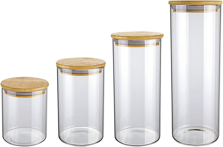 Conjunto de Potes de Vidro Slim com Tampa Bambu 4 peças - Euro