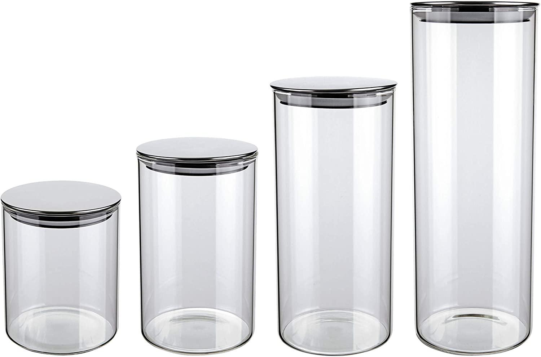 Conjunto de Potes de Vidro Slim com Tampa Inox 4 peças - Euro