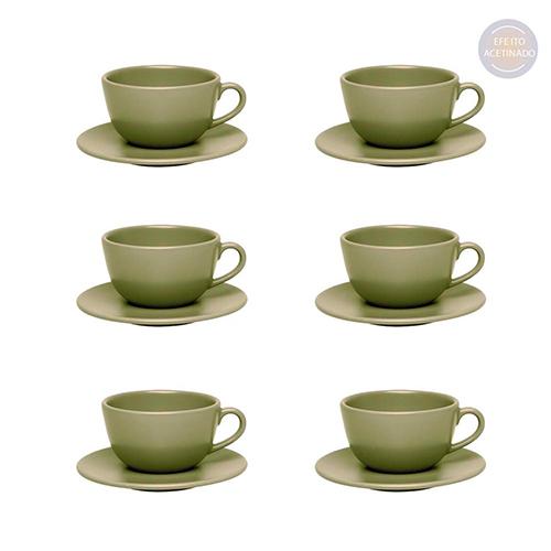 Conjunto de Xícara Chá Com Pires 12 Peças 200ml Oliva - Oxford