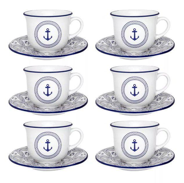 Conjunto de Xícaras de Chá com Pires 12 peças Floreal Náutico - Oxford