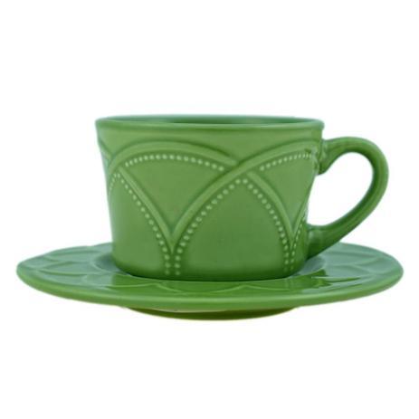 Conjunto de xícaras para chá/café c/ 4 xícaras e pires Íris Olivia 80ml