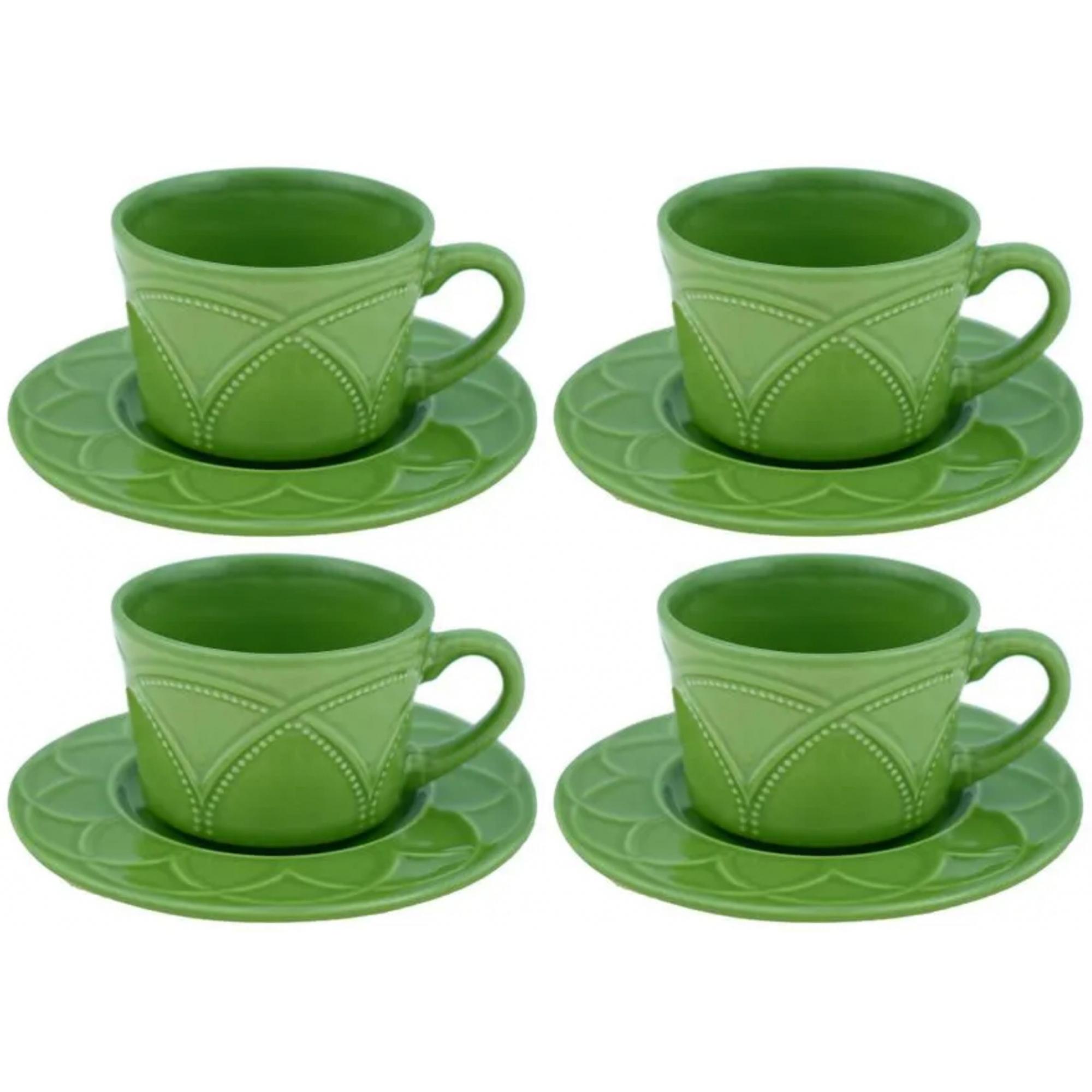 Conjunto de xícaras para chá/café c/ 4 xícaras e pires Íris Olivia 80ml - Wolff