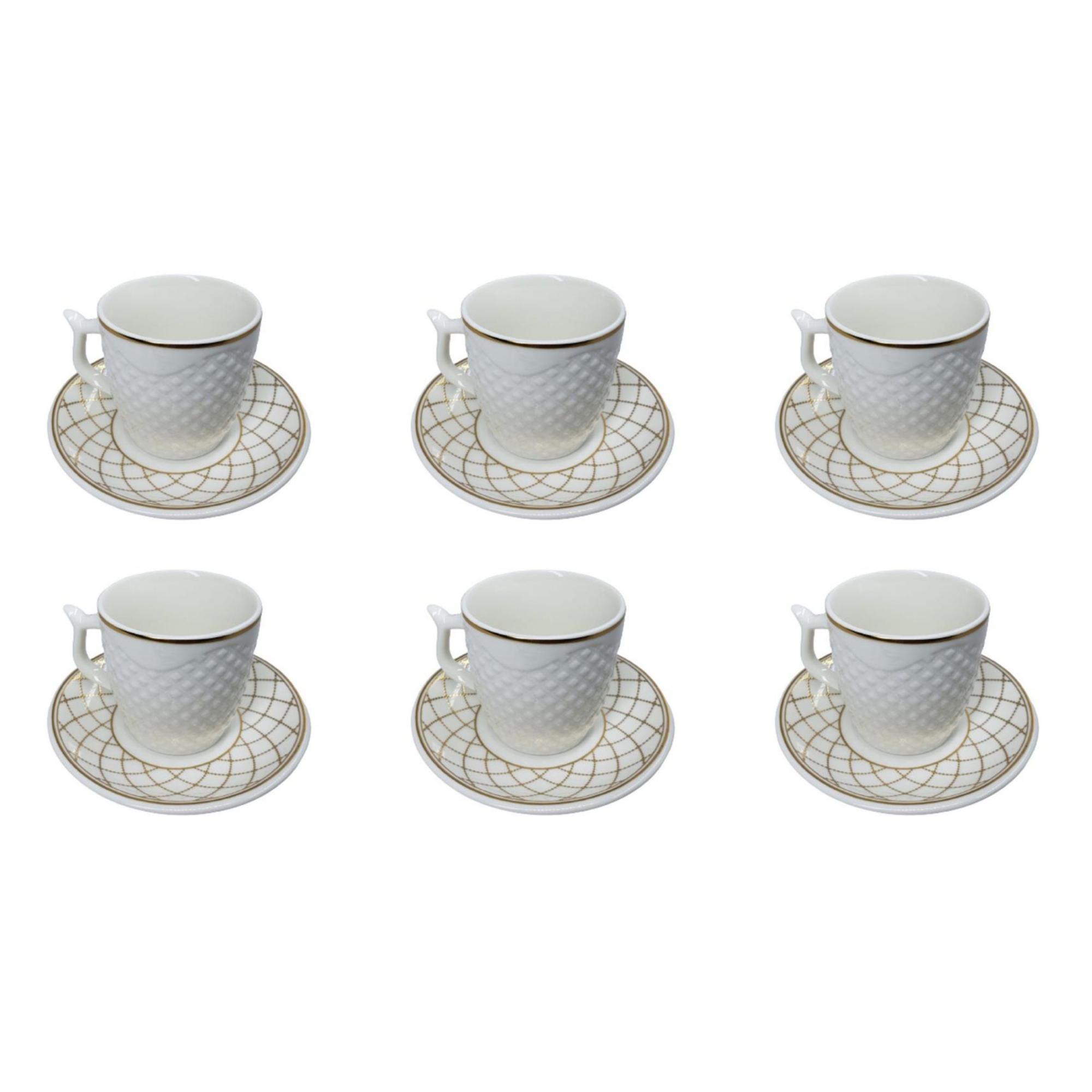 Conjunto Xícara Café com Pires Porcelana Kit 12 Peças 90ml - Wincy