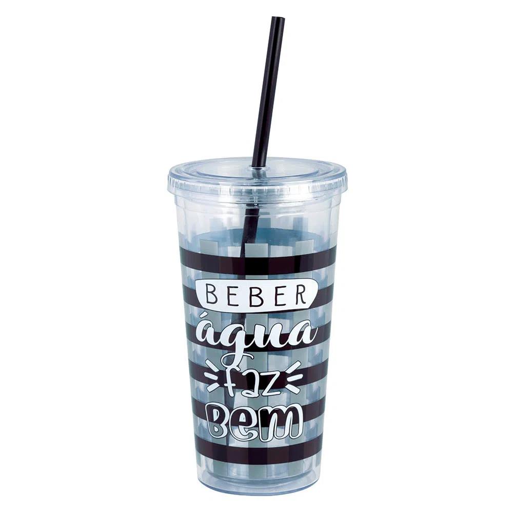 Copo com Canudo Drink 600ml