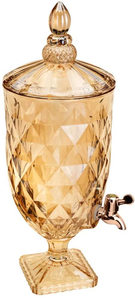 Dispenser/Suqueira em Cristal Diamond Âmbar 5 litros - Lyor