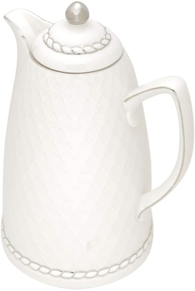 Garrafa Térmica De Porcelana Branco e Prata 900ml 28cm