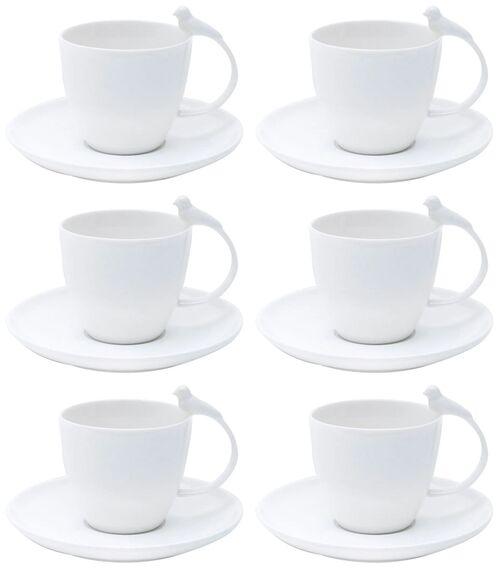 Jogo 06 Xícaras Para Chá Com Pires Porcelana Birds Branco