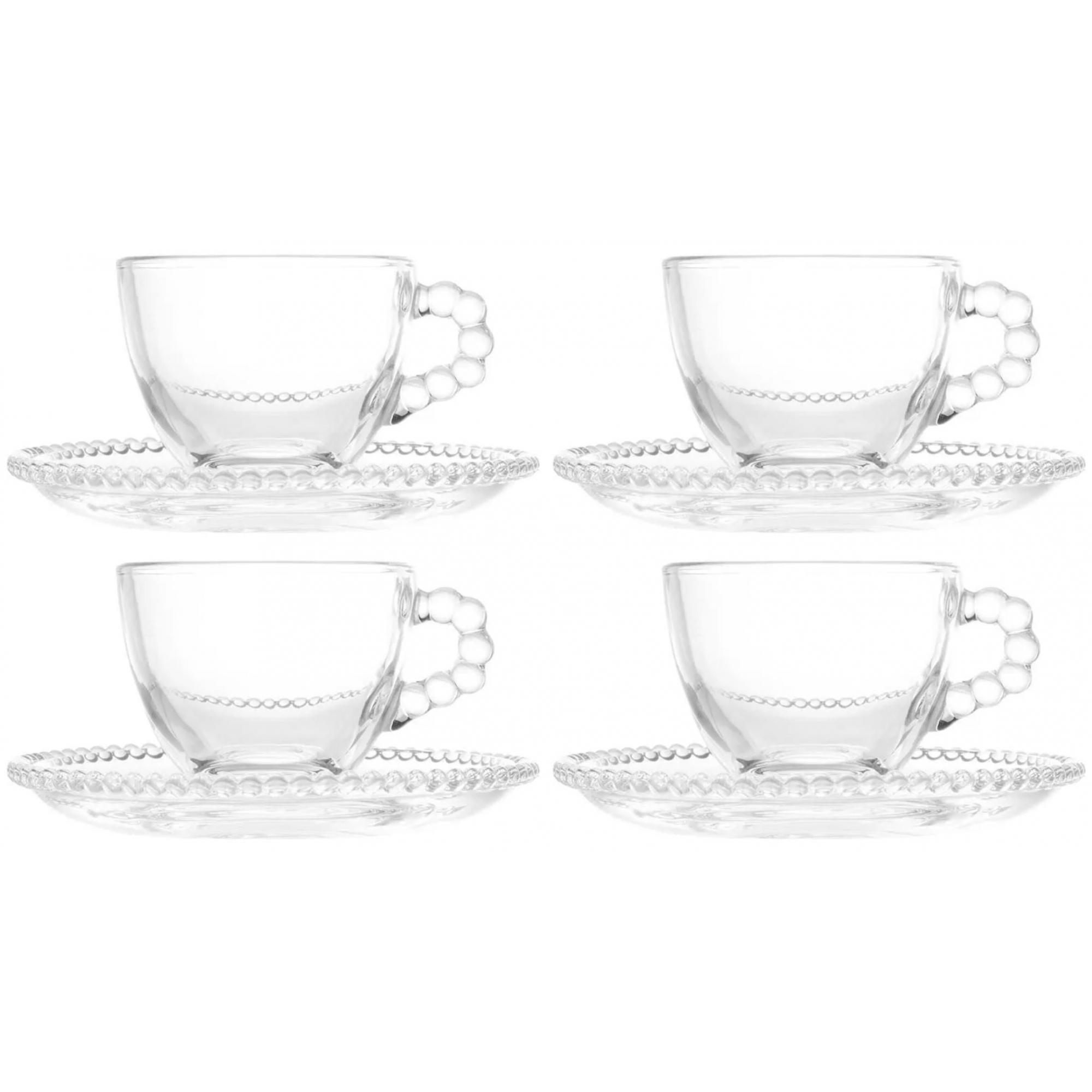 Jogo 4 xícaras 100ml para café de cristal transparente com pires Pearl Wolff - 27899
