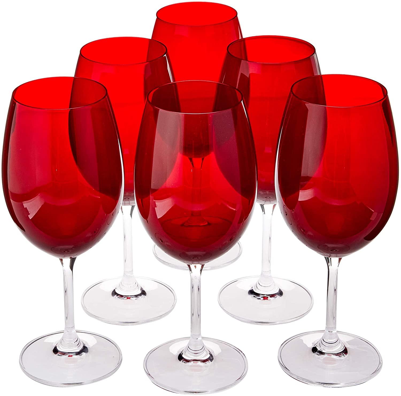 Jogo 6 taças vinho cristal Klara Sylvia rubi 450ml - Lyor