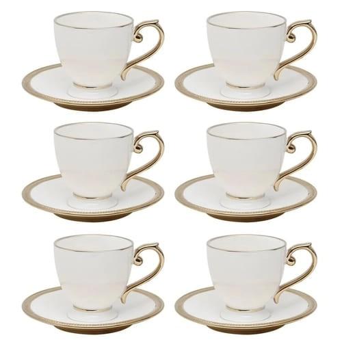 Jogo de Xícaras para Chá com Pires em Porcelana Paddy 06 Pessoas - Branca 200ML