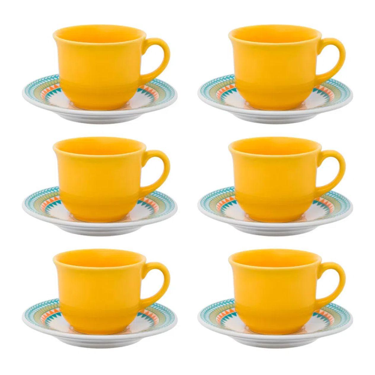 Jogo 6 Xícaras de Chá com Pires Bilro - Oxford