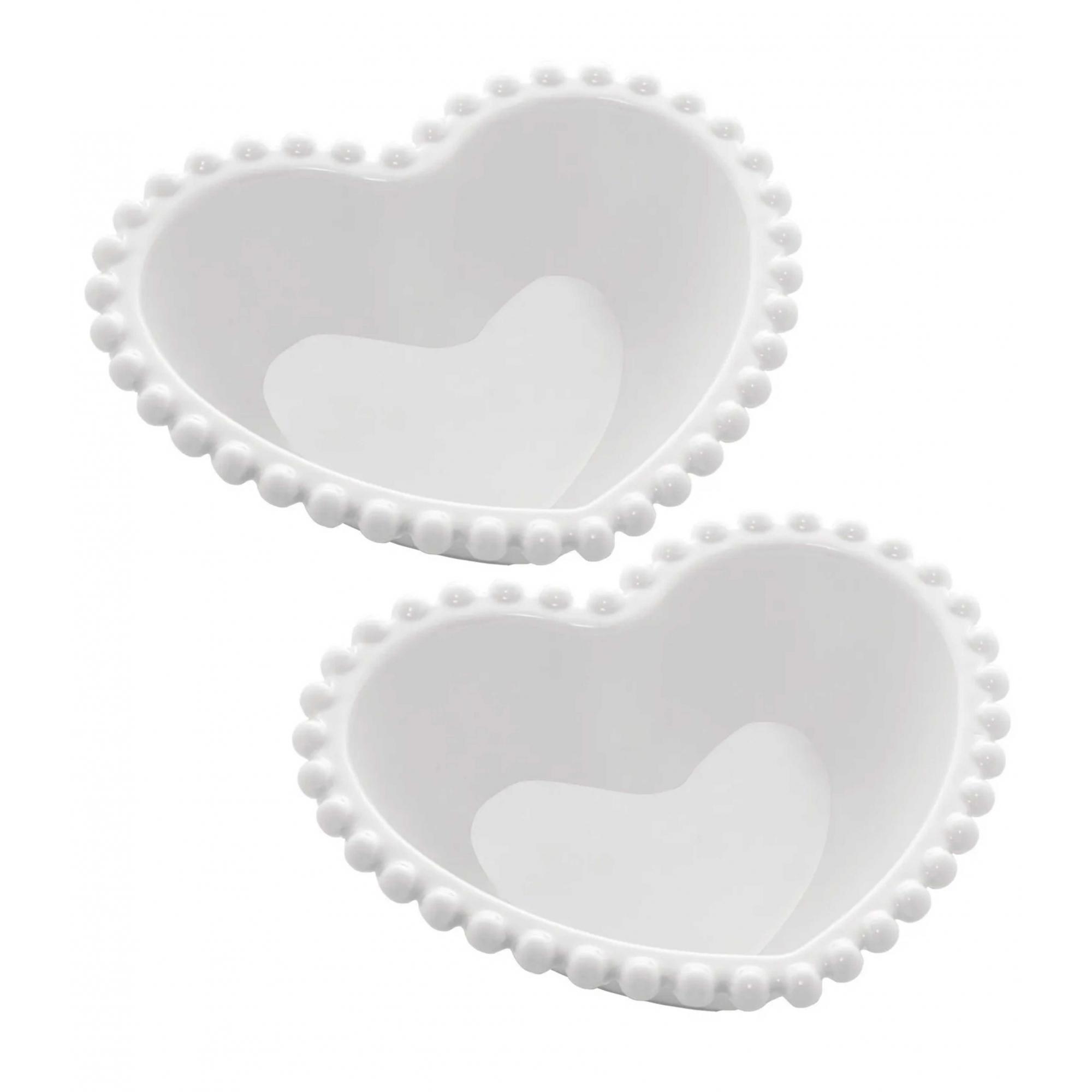 Jogo de 2 Bowls em Porcelana Coração Beads Branco - Wolff