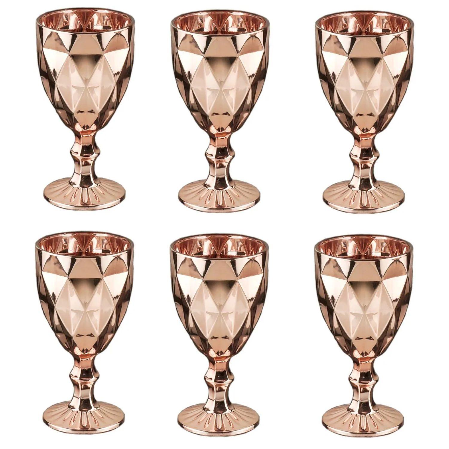 Jogo de 6 Taças Água de Vidro Diamond Rosé Golden 325ml - Lyor