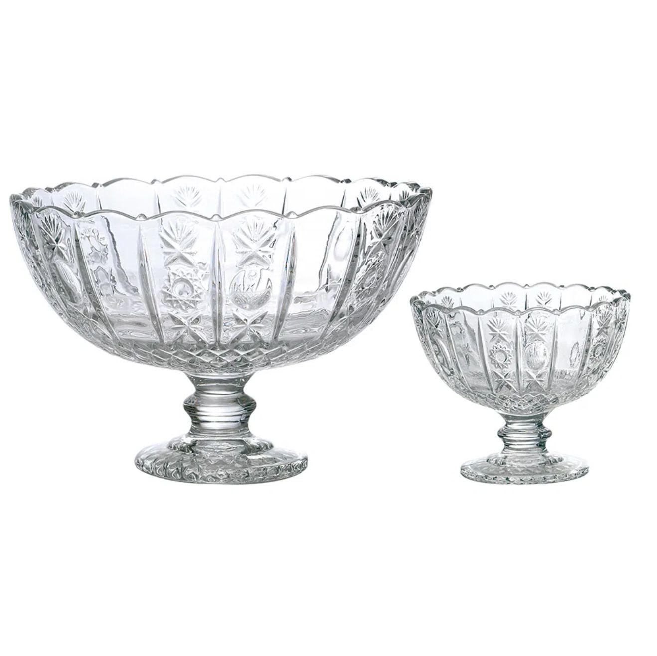 Jogo de Saladeira e 6 Tigelas para Sobremesa de Vidro Transparente - Dynasty