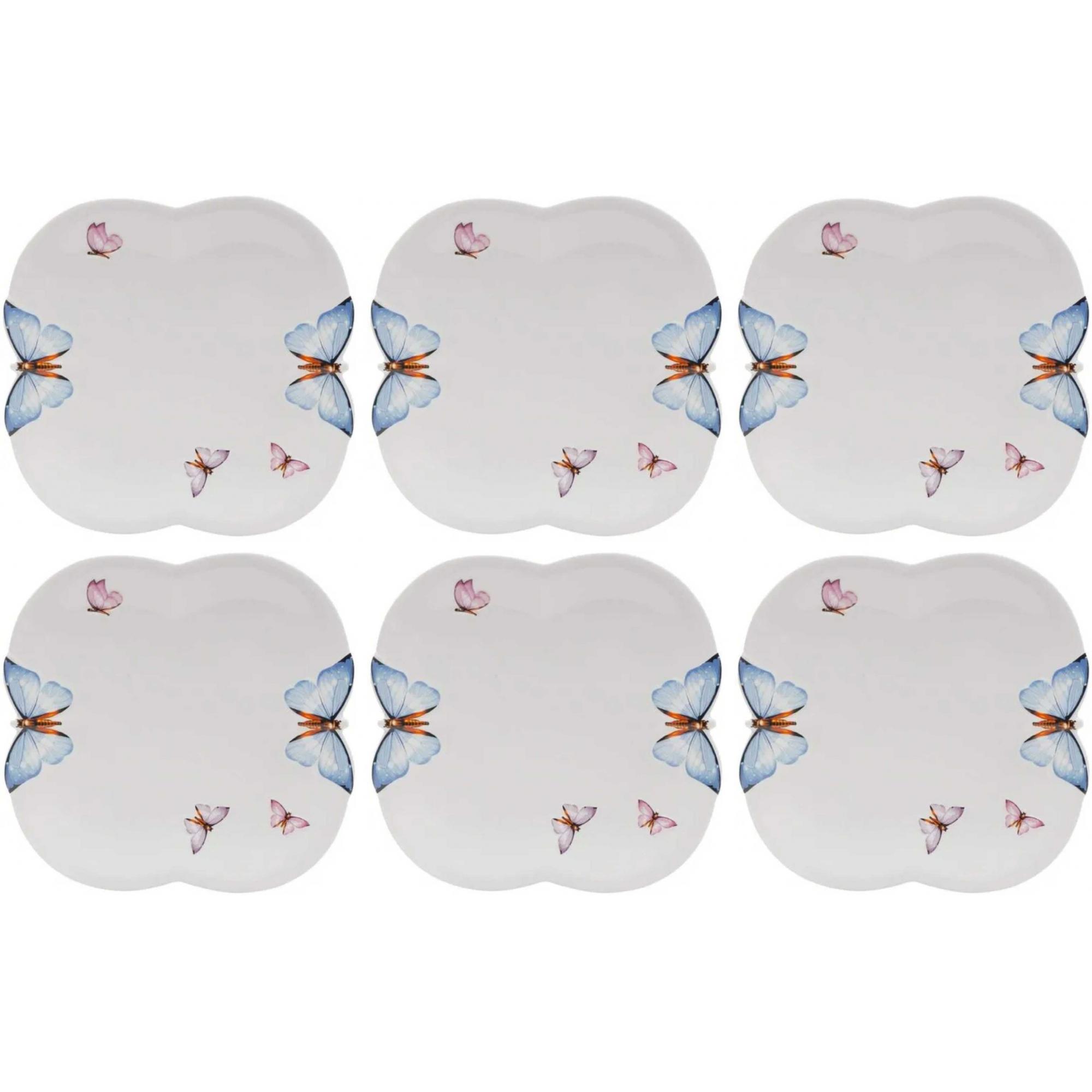 Jogo Pratos Rasos em Porcelana Borboletas 6 peças