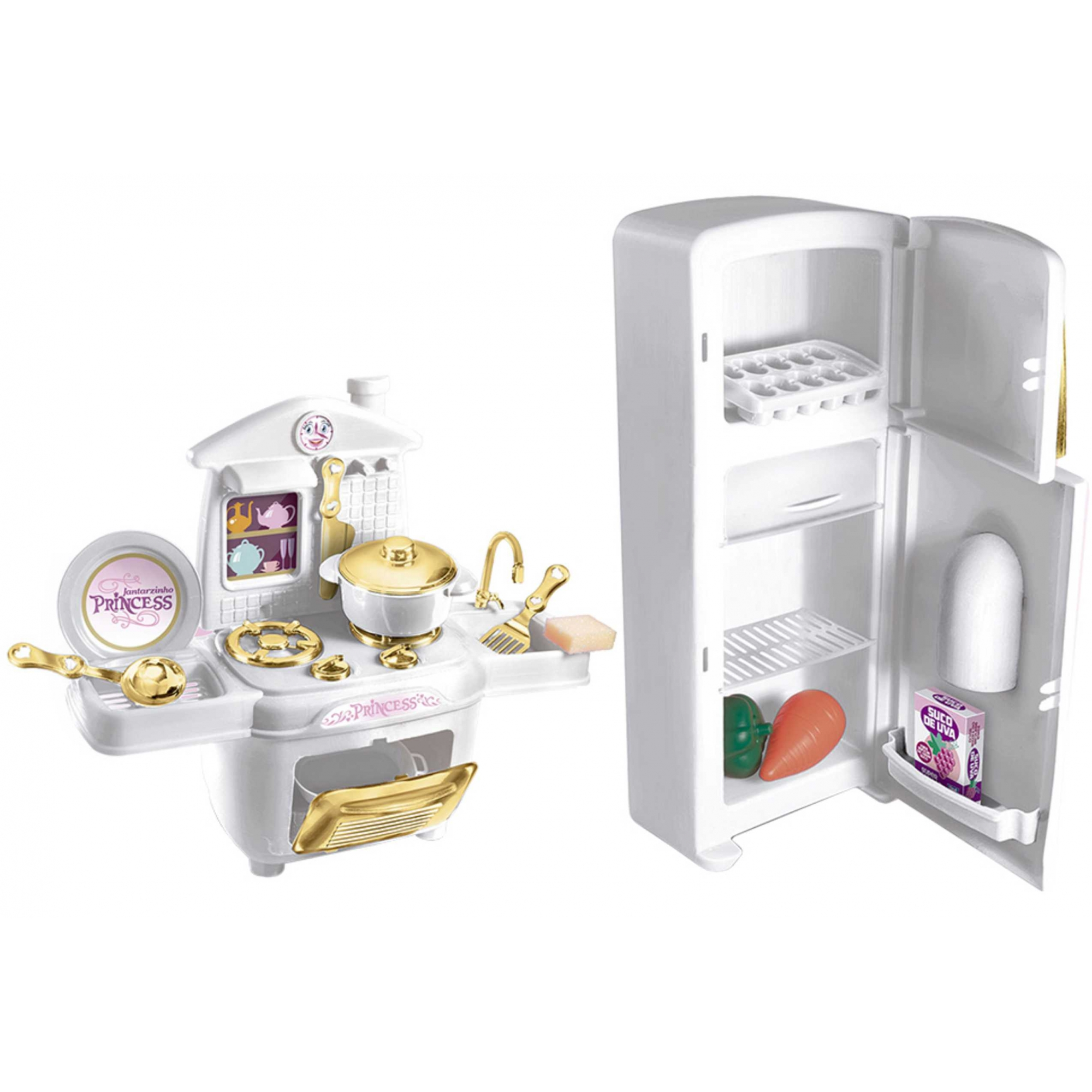 Kit Cozinha Infantil Com Geladeira+Fogao E Acessorios Princess Deluxe - Zuca Toys