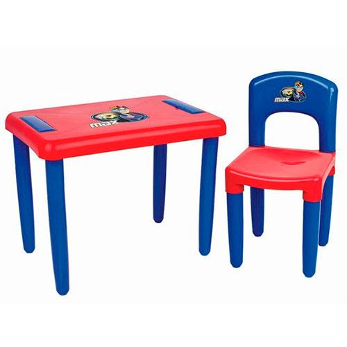 Mesa e Cadeira Infantil Magic Toys azul/vermelho para Atividades