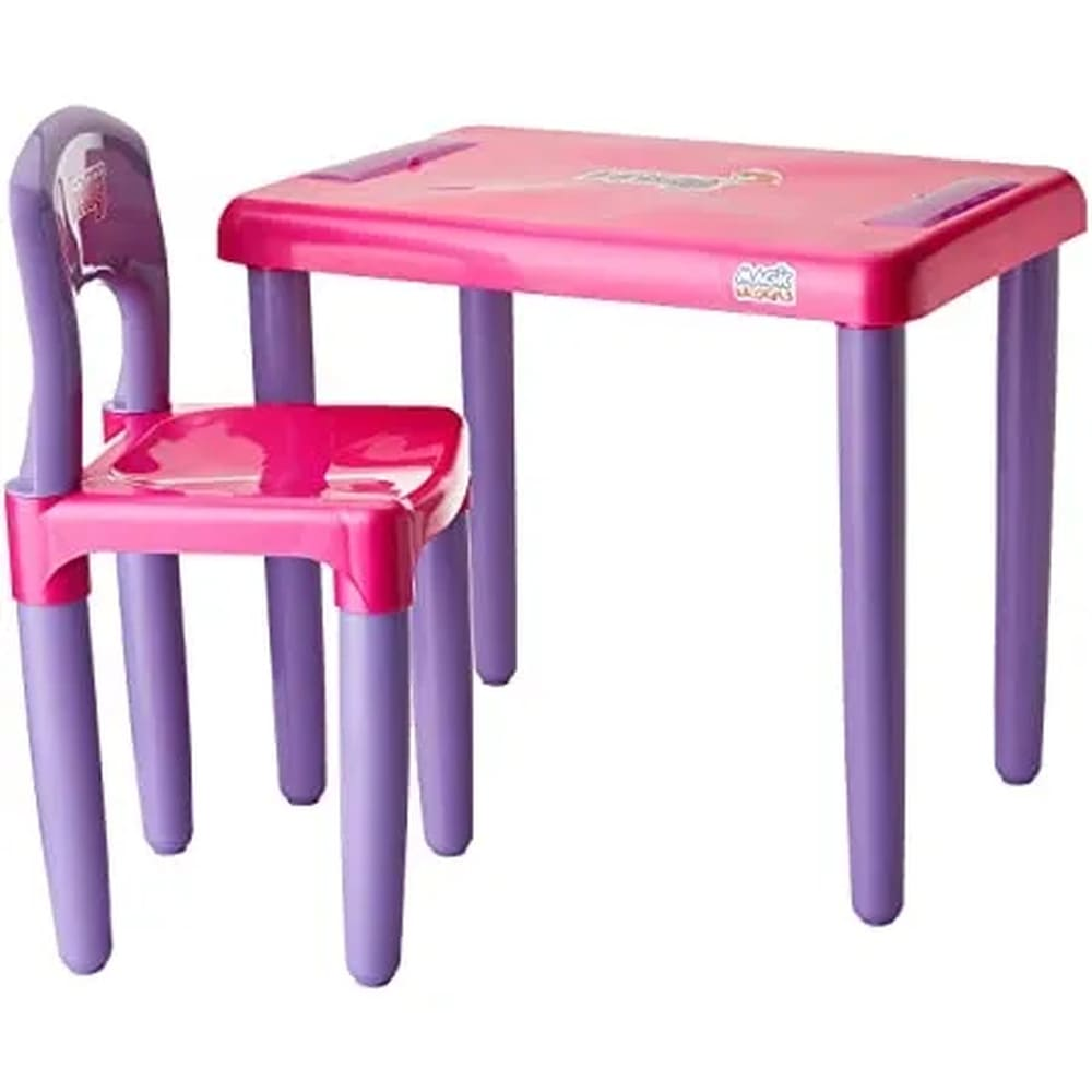 Mesa e Cadeira Infantil Magic Toys rosa/lilás para Atividades