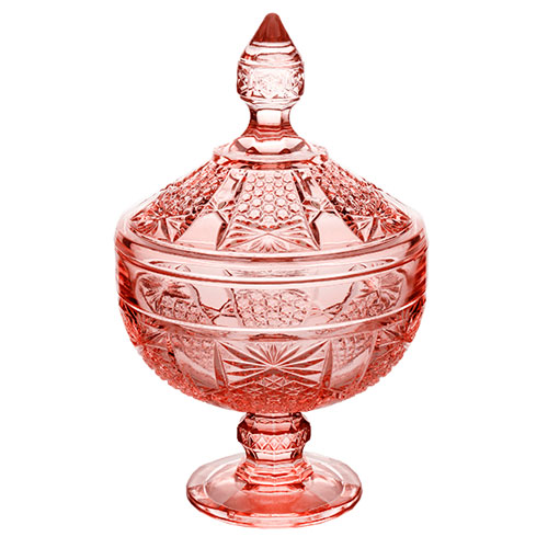 Potiche Decorativo Wolff Princess Com Pé Cristal Rosa 15x24cm