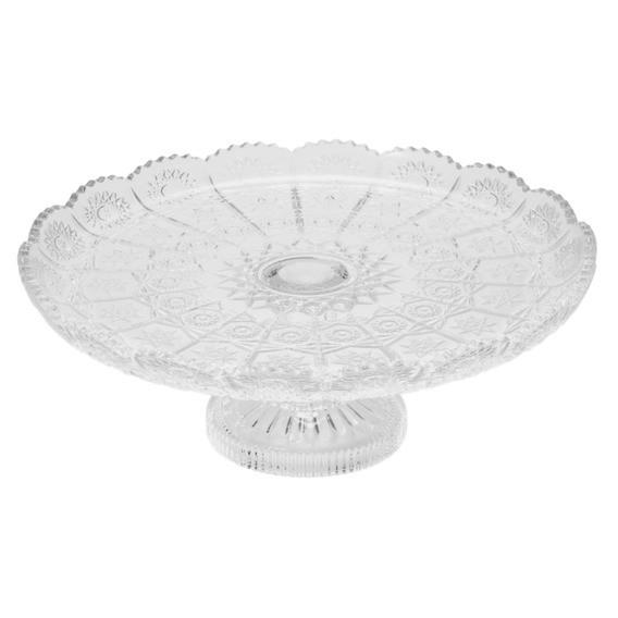 Prato para bolo de cristal com pé transparente Starry Wolff 30 cm