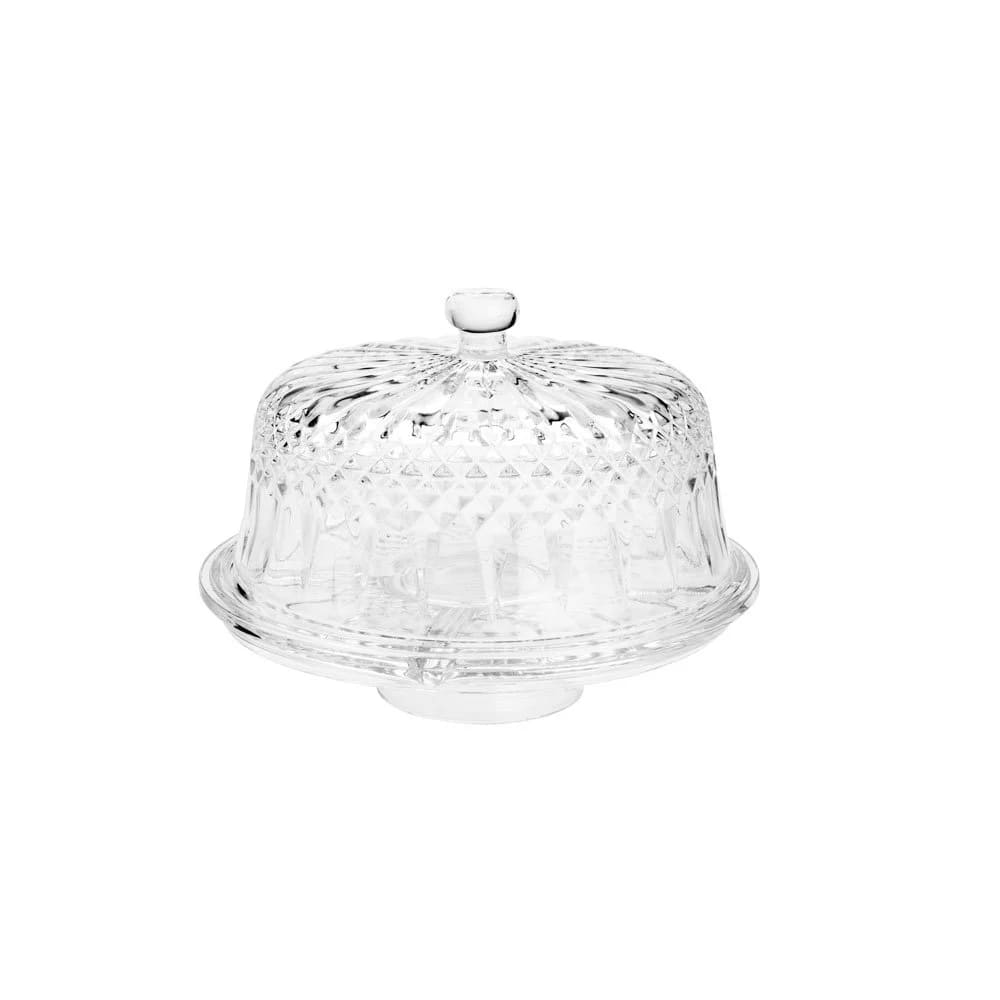 Prato de Bolo de Cristal Chumbo Diamante c/ Pé 30x22cm