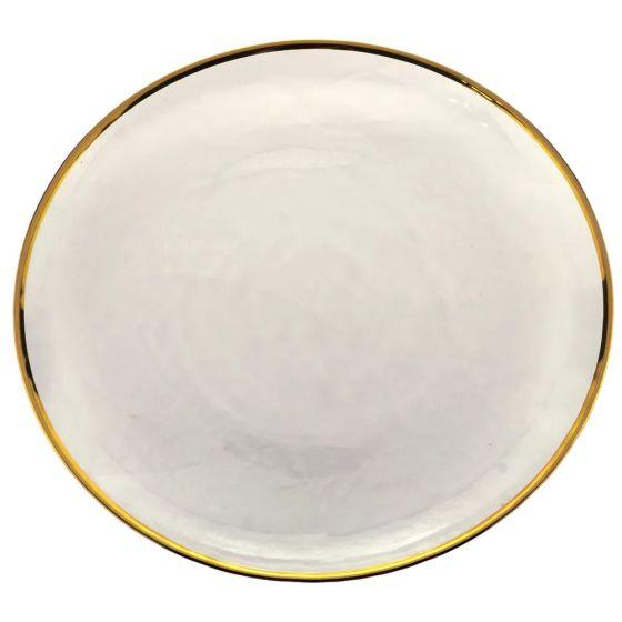 Prato Sobremesa Cristal De Chumbo Com Borda Dourada