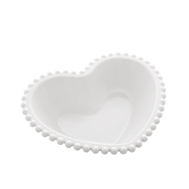 Saladeira Porcelana Coração Beads Branco 21x18x6cm - Bon Gourmet
